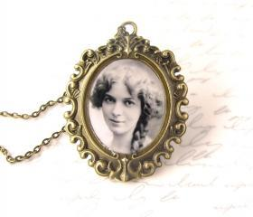 Custom necklace w/ your photo, large oval setting, personalized jewelry