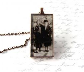 Custom necklace w/ yourphoto, large rectangle setting, personalized jewelry